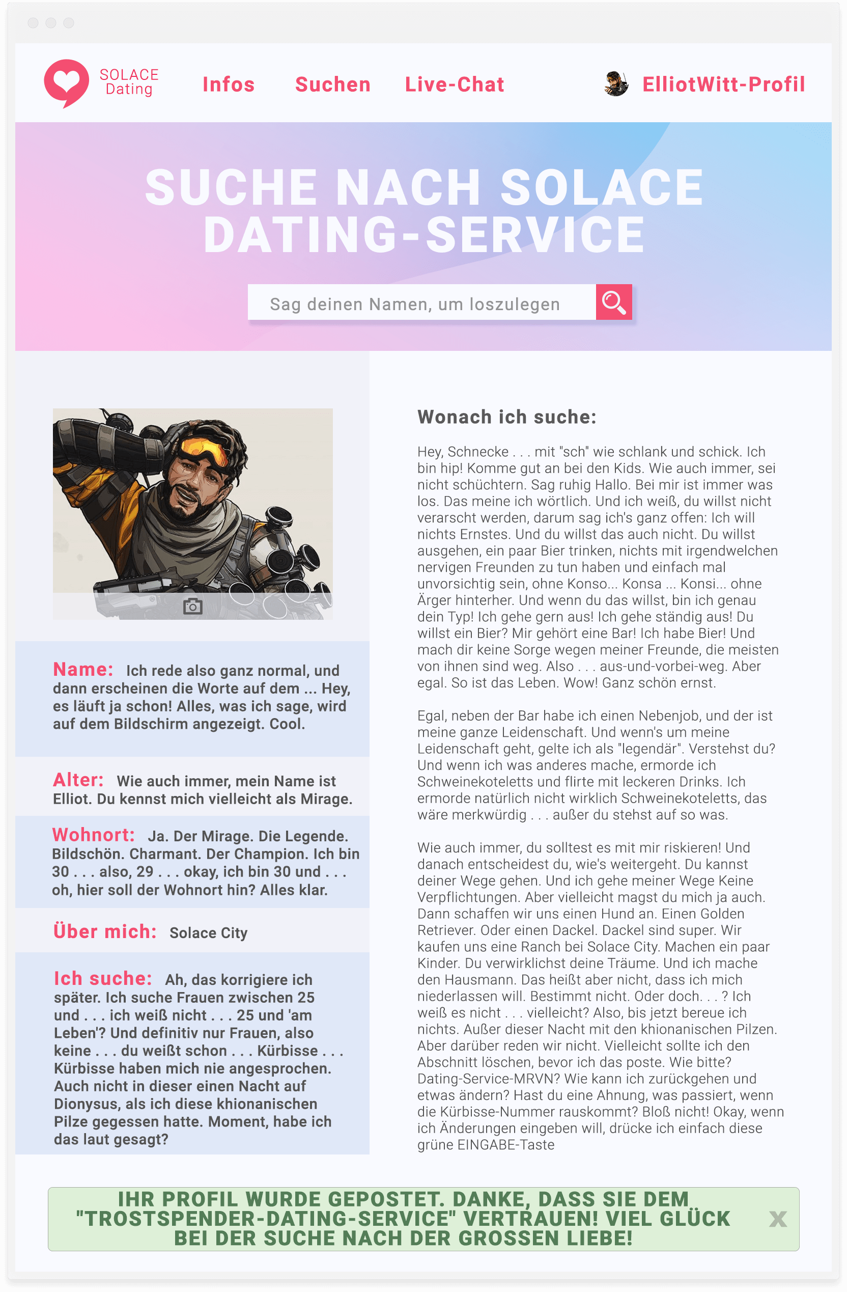 Online-Dating nur reden
