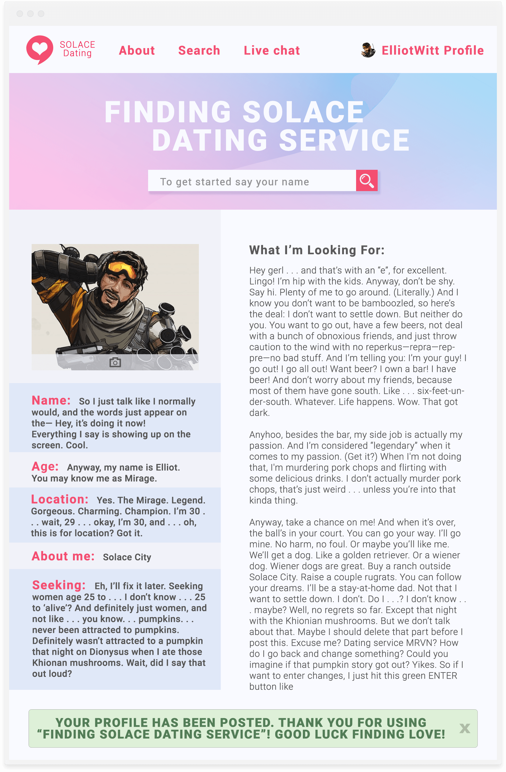 What not to say on a dating website