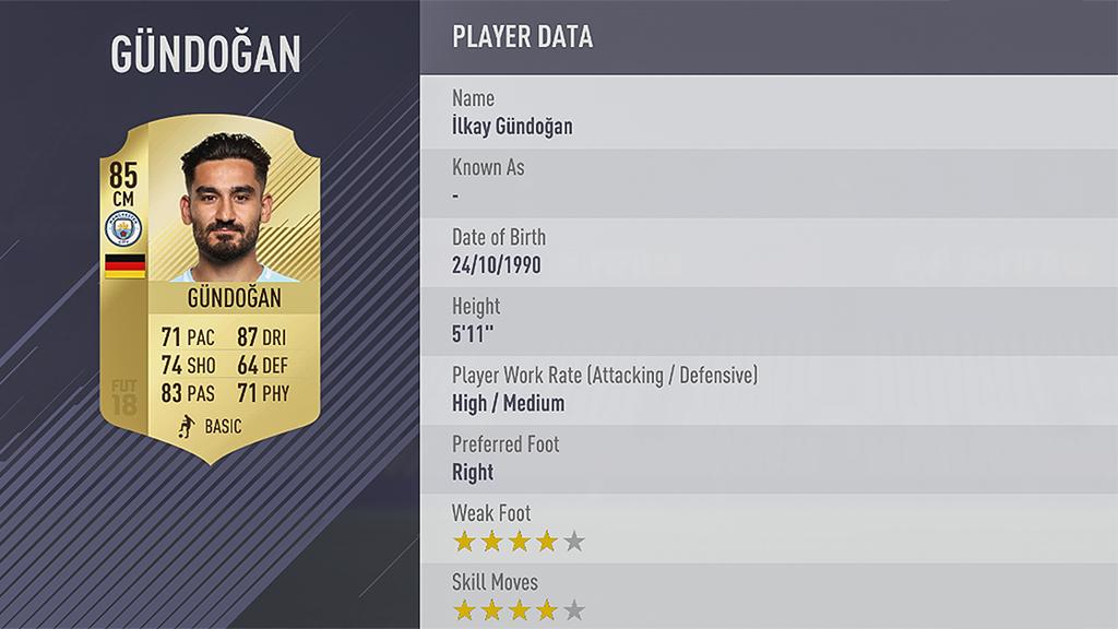 Ilkay Gundogan FIFA 18
