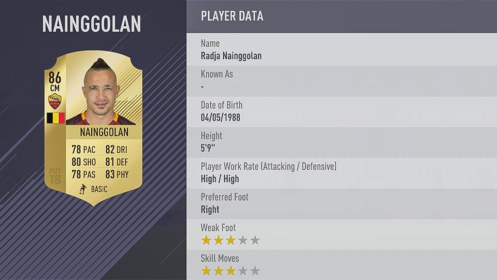 Radja Nainggolan FIFA 18 Rating