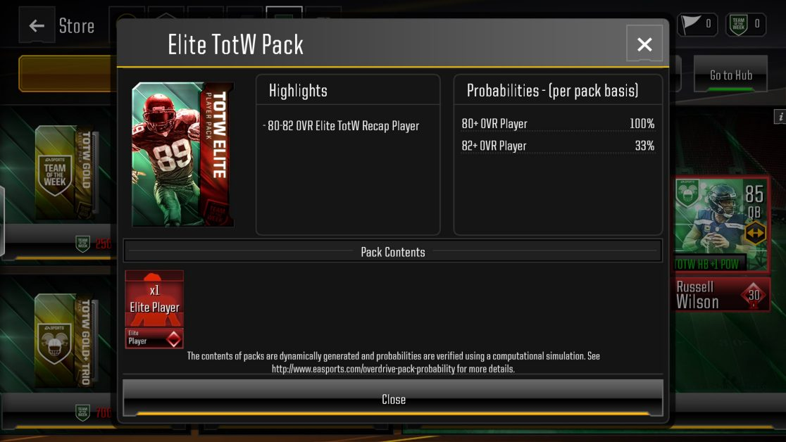 madden nfl overdrive pack probabilities update