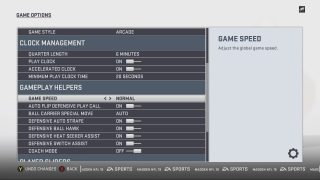 Game Options Settings Menu. See Madden Guide for the Blind and Visually Impaired for more details.