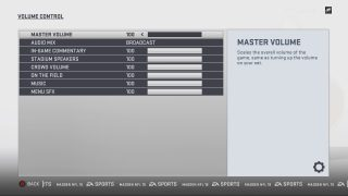 Volume Control Settings Menu. See Madden Guide for the Blind and Visually Impaired for more details.