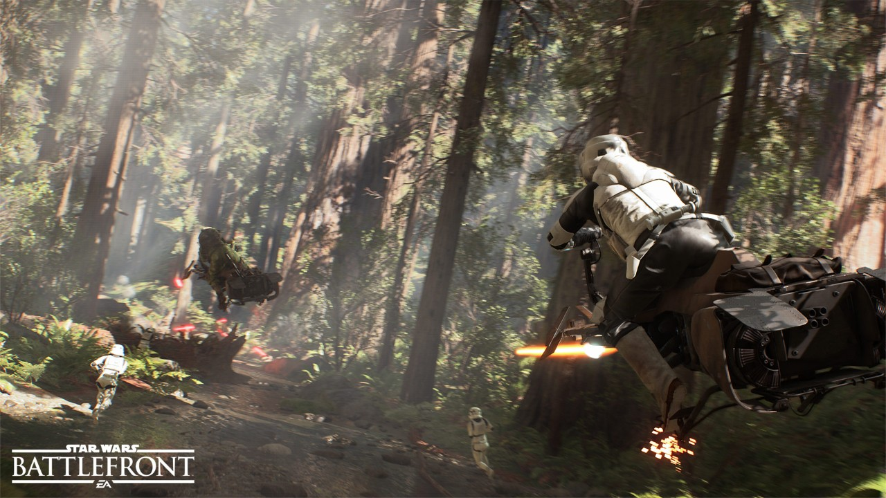 Speeder bike chase through the forest of Endor
