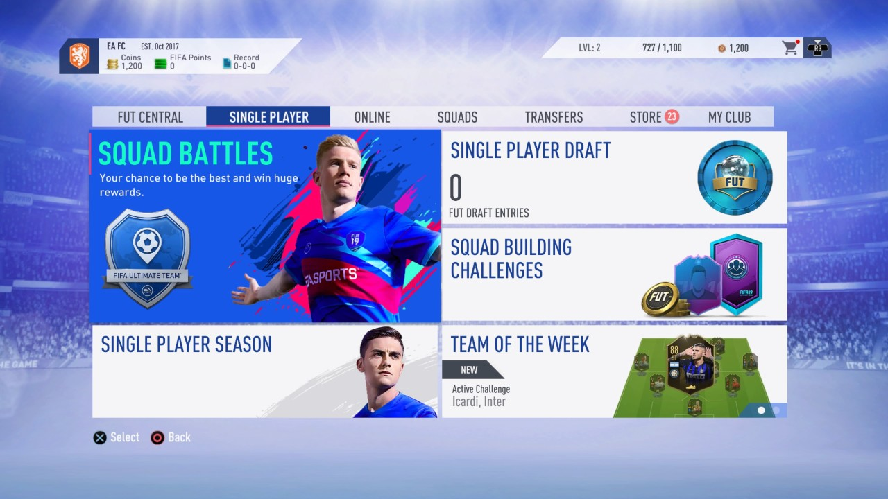 FIFA 19 Ultimate Team Single Player Modes
