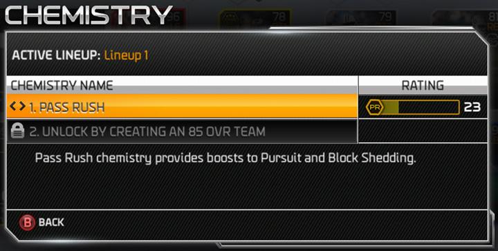 Chemistry in Madden Ultimate Team