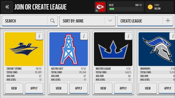 Leagues in Madden NFL Mobile