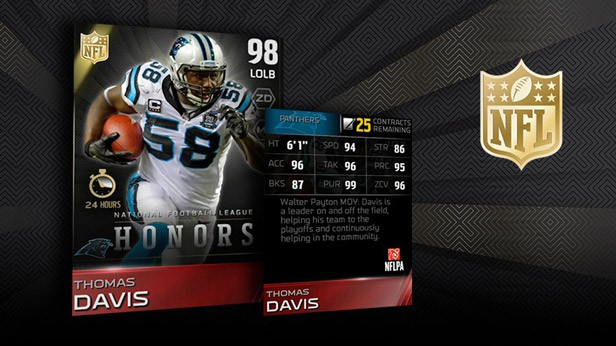 Nfl honors in madden ultimate team - Walter payton madden 15 ...